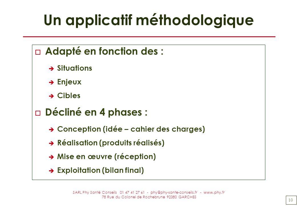 10 SARL Phy Santé Conseils 01 47 41 27 61 - phy@phy-sante-conseils.fr - www.phy.fr 78 Rue du Colonel de Rochebrune 92380 GARCHES Un applicatif méthodo