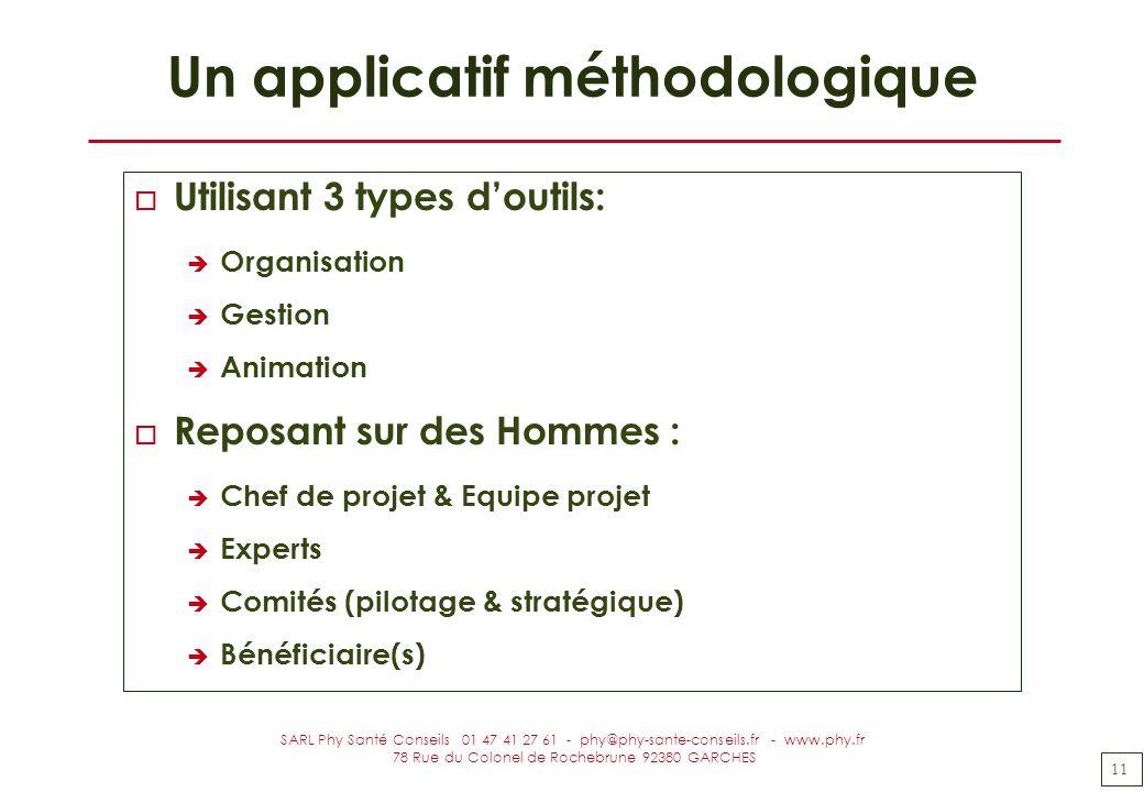 11 SARL Phy Santé Conseils 01 47 41 27 61 - phy@phy-sante-conseils.fr - www.phy.fr 78 Rue du Colonel de Rochebrune 92380 GARCHES Un applicatif méthodo