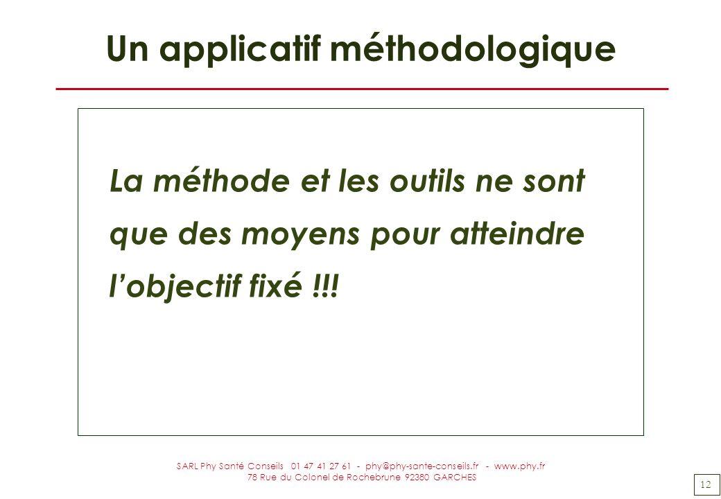 12 SARL Phy Santé Conseils 01 47 41 27 61 - phy@phy-sante-conseils.fr - www.phy.fr 78 Rue du Colonel de Rochebrune 92380 GARCHES Un applicatif méthodo