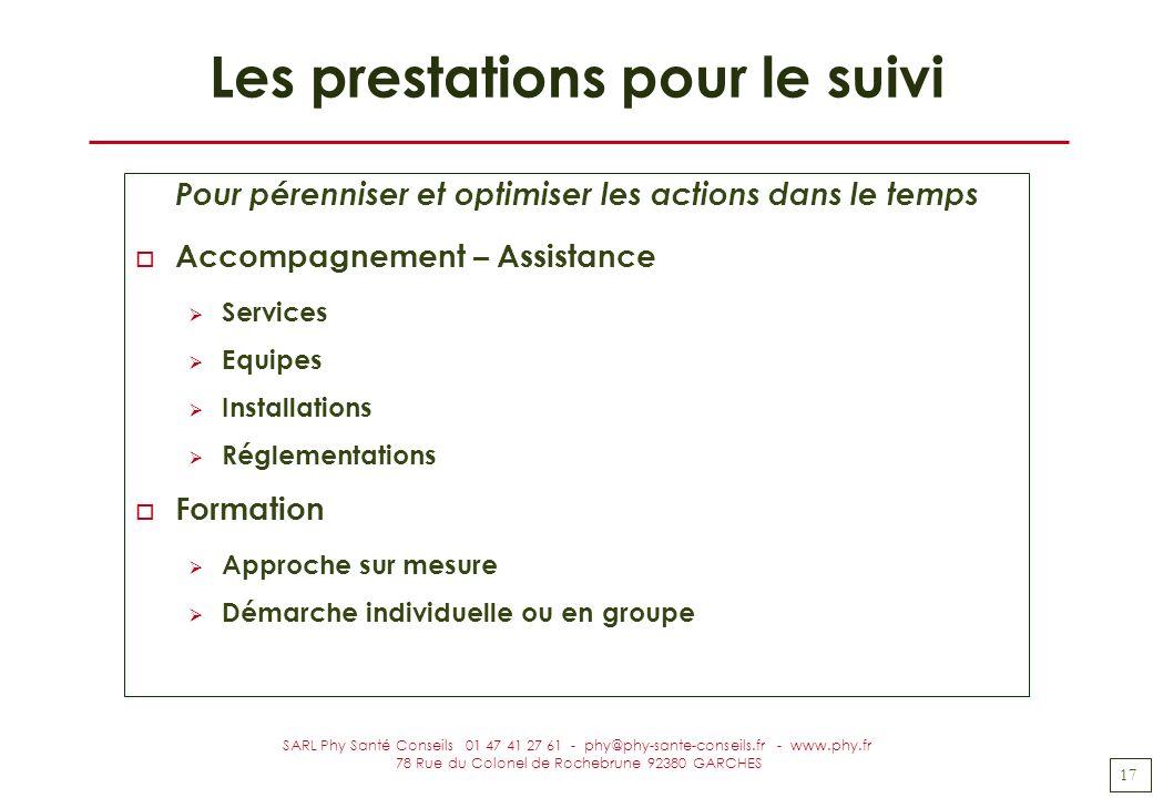 17 SARL Phy Santé Conseils 01 47 41 27 61 - phy@phy-sante-conseils.fr - www.phy.fr 78 Rue du Colonel de Rochebrune 92380 GARCHES Les prestations pour