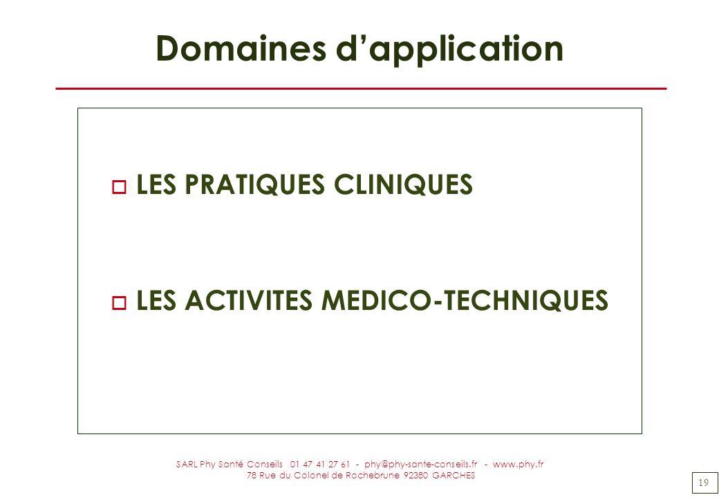 19 SARL Phy Santé Conseils 01 47 41 27 61 - phy@phy-sante-conseils.fr - www.phy.fr 78 Rue du Colonel de Rochebrune 92380 GARCHES Domaines dapplication