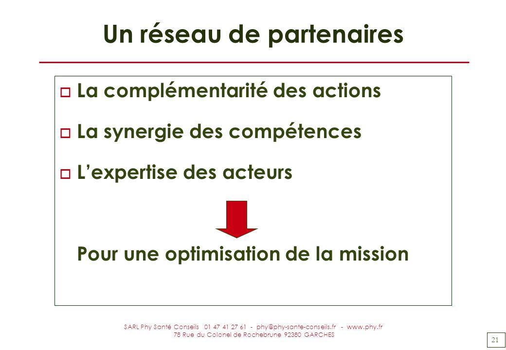 21 SARL Phy Santé Conseils 01 47 41 27 61 - phy@phy-sante-conseils.fr - www.phy.fr 78 Rue du Colonel de Rochebrune 92380 GARCHES Un réseau de partenai