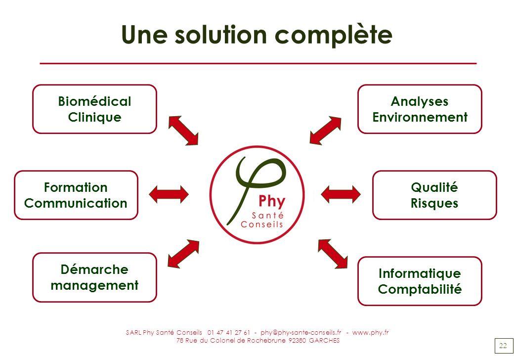 22 SARL Phy Santé Conseils 01 47 41 27 61 - phy@phy-sante-conseils.fr - www.phy.fr 78 Rue du Colonel de Rochebrune 92380 GARCHES Une solution complète