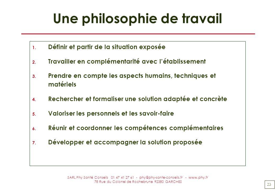 23 SARL Phy Santé Conseils 01 47 41 27 61 - phy@phy-sante-conseils.fr - www.phy.fr 78 Rue du Colonel de Rochebrune 92380 GARCHES Une philosophie de tr