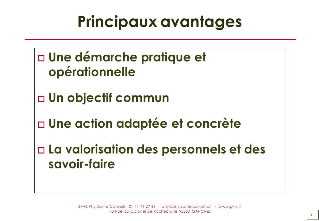 5 SARL Phy Santé Conseils 01 47 41 27 61 - phy@phy-sante-conseils.fr - www.phy.fr 78 Rue du Colonel de Rochebrune 92380 GARCHES Principaux avantages o
