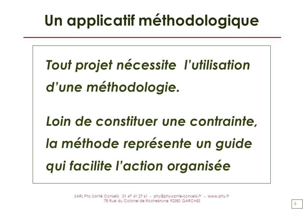 9 SARL Phy Santé Conseils 01 47 41 27 61 - phy@phy-sante-conseils.fr - www.phy.fr 78 Rue du Colonel de Rochebrune 92380 GARCHES Un applicatif méthodol