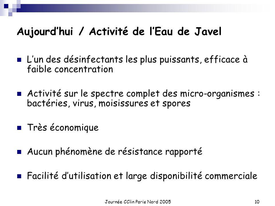 Journée CClin Paris Nord 200510 Aujourdhui / Activité de lEau de Javel Lun des désinfectants les plus puissants, efficace à faible concentration Activ