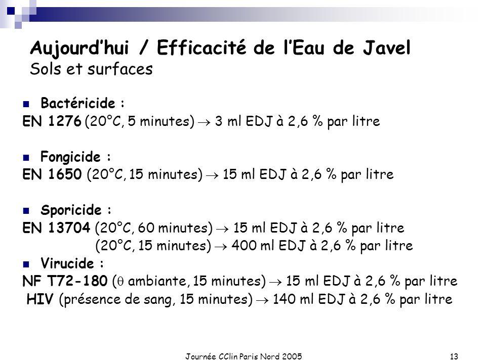 Journée CClin Paris Nord 200513 Aujourdhui / Efficacité de lEau de Javel Sols et surfaces Bactéricide : EN 1276 (20°C, 5 minutes) 3 ml EDJ à 2,6 % par