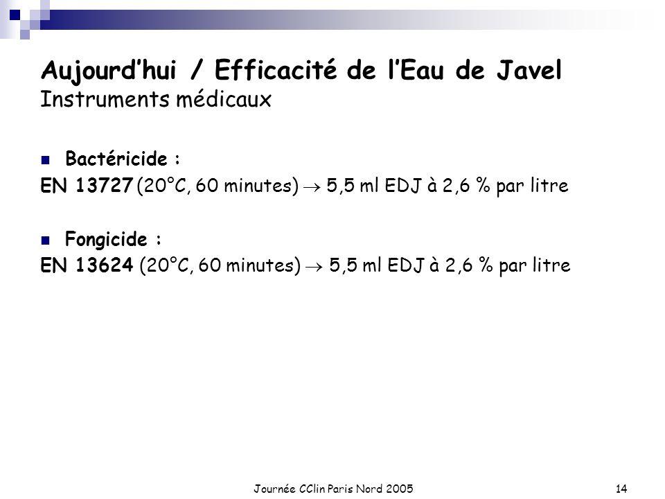 Journée CClin Paris Nord 200514 Aujourdhui / Efficacité de lEau de Javel Instruments médicaux Bactéricide : EN 13727 (20°C, 60 minutes) 5,5 ml EDJ à 2