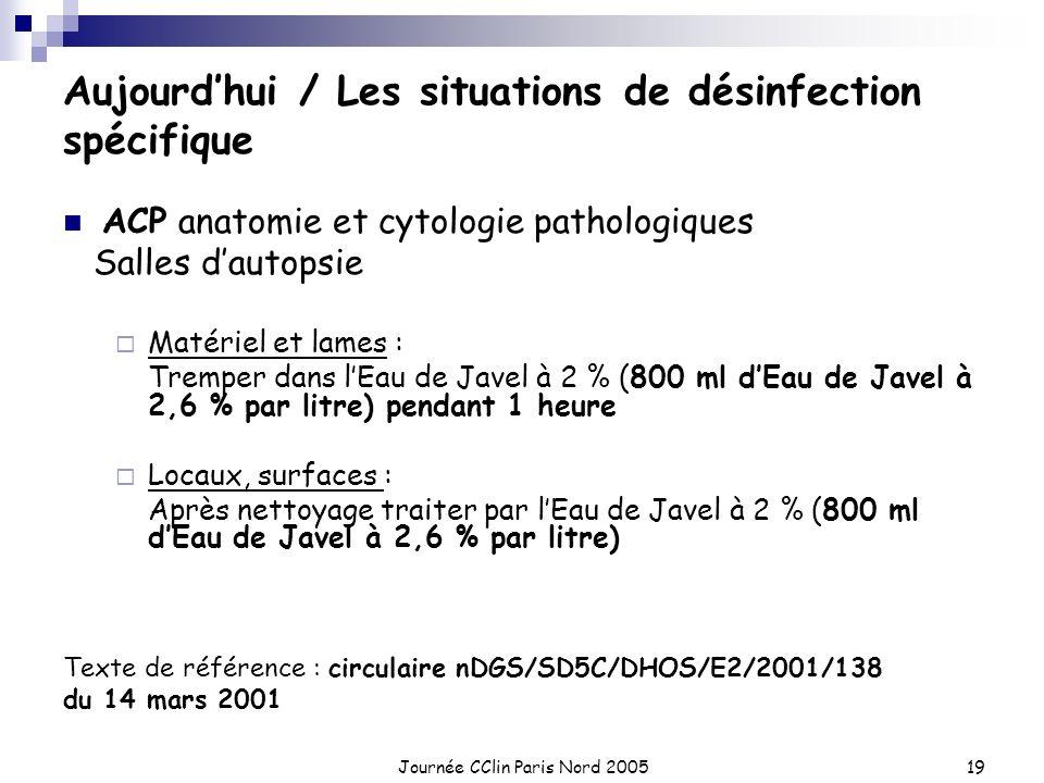Journée CClin Paris Nord 200519 Aujourdhui / Les situations de désinfection spécifique ACP anatomie et cytologie pathologiques Salles dautopsie Matéri
