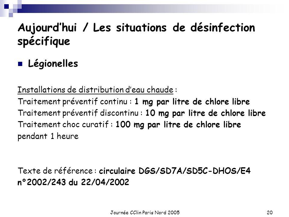 Journée CClin Paris Nord 200520 Aujourdhui / Les situations de désinfection spécifique Légionelles Installations de distribution deau chaude : Traitem