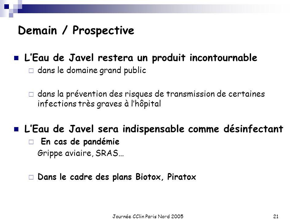 Journée CClin Paris Nord 200521 Demain / Prospective LEau de Javel restera un produit incontournable dans le domaine grand public dans la prévention d