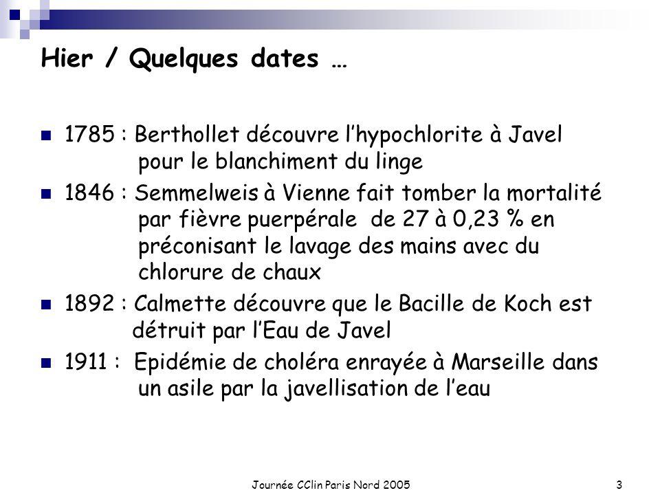 Journée CClin Paris Nord 20053 Hier / Quelques dates … 1785 : Berthollet découvre lhypochlorite à Javel pour le blanchiment du linge 1846 : Semmelweis