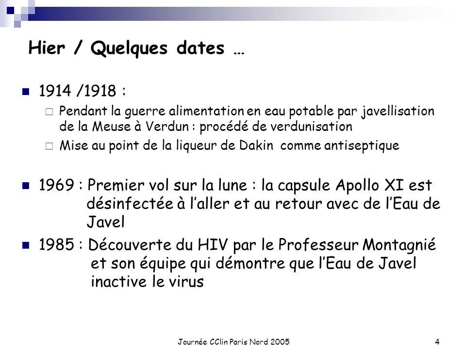 Journée CClin Paris Nord 20054 Hier / Quelques dates … 1914 /1918 : Pendant la guerre alimentation en eau potable par javellisation de la Meuse à Verd