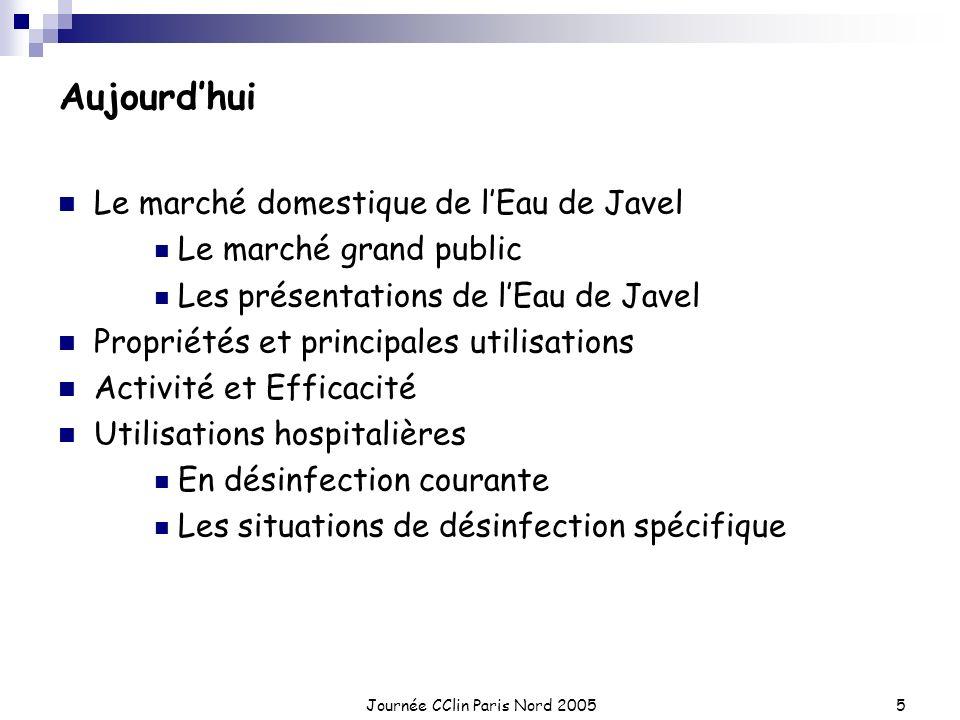 Journée CClin Paris Nord 20055 Aujourdhui Le marché domestique de lEau de Javel Le marché grand public Les présentations de lEau de Javel Propriétés e