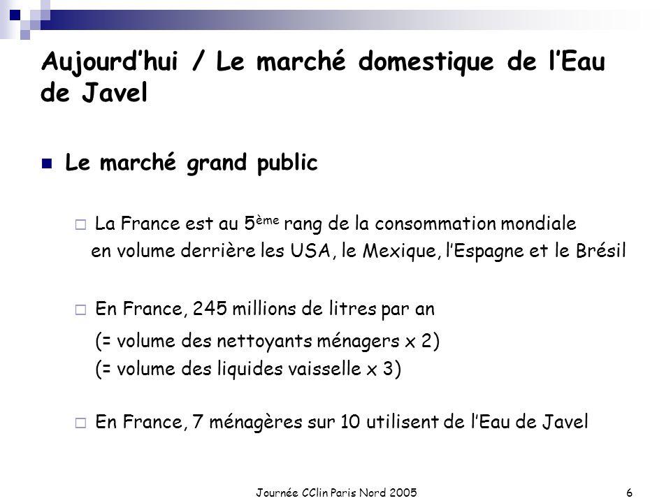 Journée CClin Paris Nord 20056 Aujourdhui / Le marché domestique de lEau de Javel Le marché grand public La France est au 5 ème rang de la consommatio