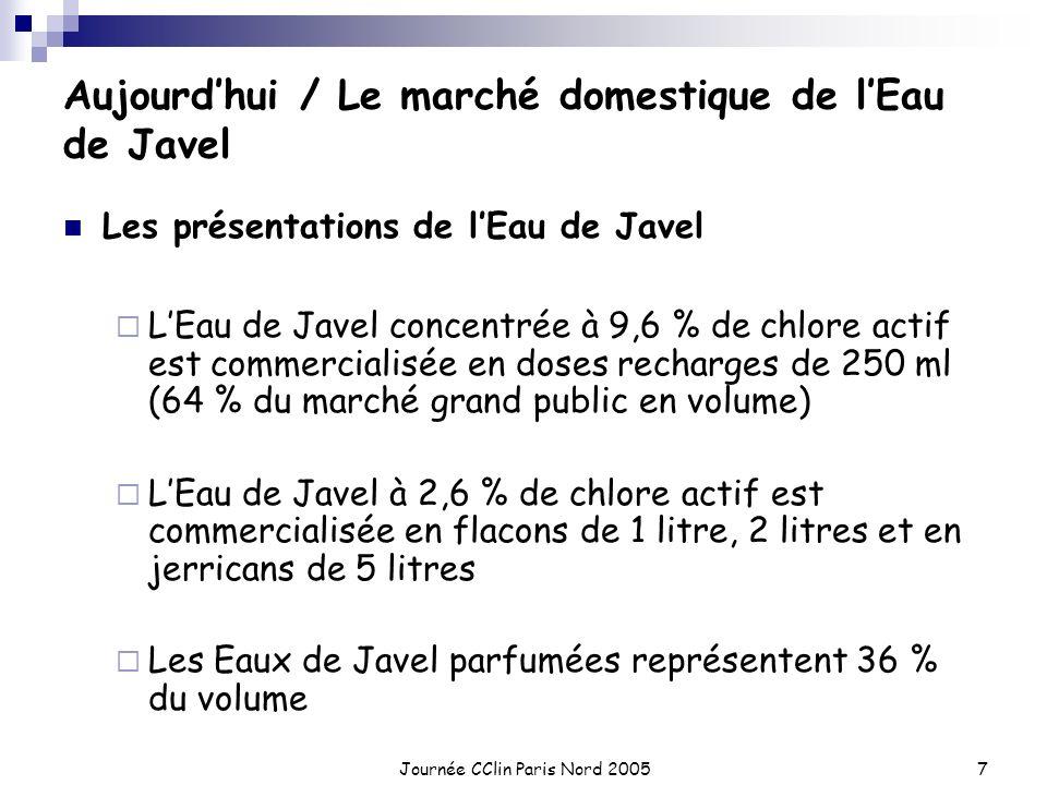 Journée CClin Paris Nord 20057 Aujourdhui / Le marché domestique de lEau de Javel Les présentations de lEau de Javel LEau de Javel concentrée à 9,6 %