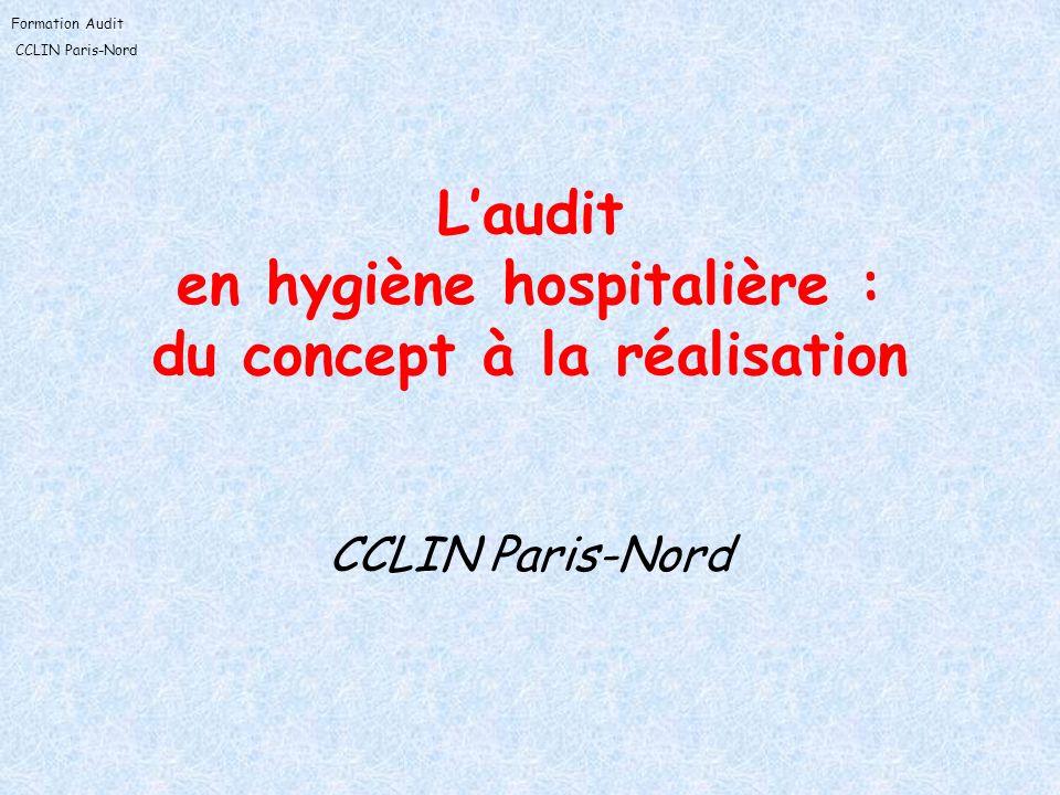 Formation Audit CCLIN Paris-Nord Laudit en hygiène hospitalière : du concept à la réalisation CCLIN Paris-Nord