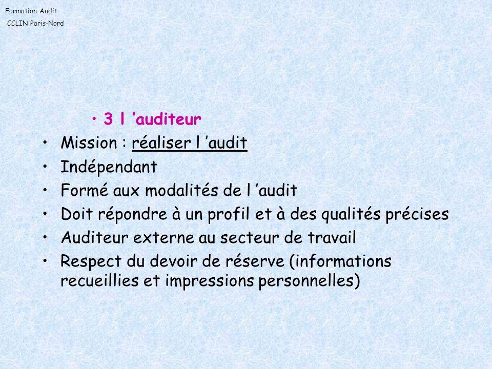 Formation Audit CCLIN Paris-Nord 3 l auditeur Mission : réaliser l audit Indépendant Formé aux modalités de l audit Doit répondre à un profil et à des