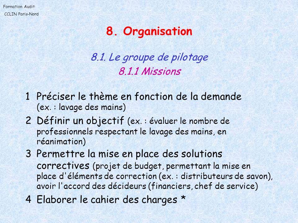 Formation Audit CCLIN Paris-Nord 8. Organisation 8.1. Le groupe de pilotage 8.1.1 Missions 1Préciser le thème en fonction de la demande (ex. : lavage