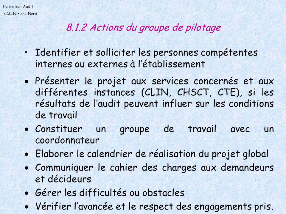 Formation Audit CCLIN Paris-Nord 8.1.2 Actions du groupe de pilotage Identifier et solliciter les personnes compétentes internes ou externes à létabli