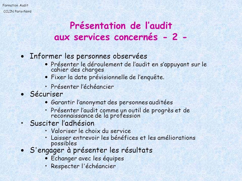 Formation Audit CCLIN Paris-Nord Présentation de laudit aux services concernés - 2 - Informer les personnes observées Présenter le déroulement de laud