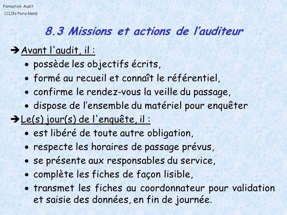 Formation Audit CCLIN Paris-Nord 8.3 Missions et actions de lauditeur Avant l'audit, il : possède les objectifs écrits, formé au recueil et connaît le
