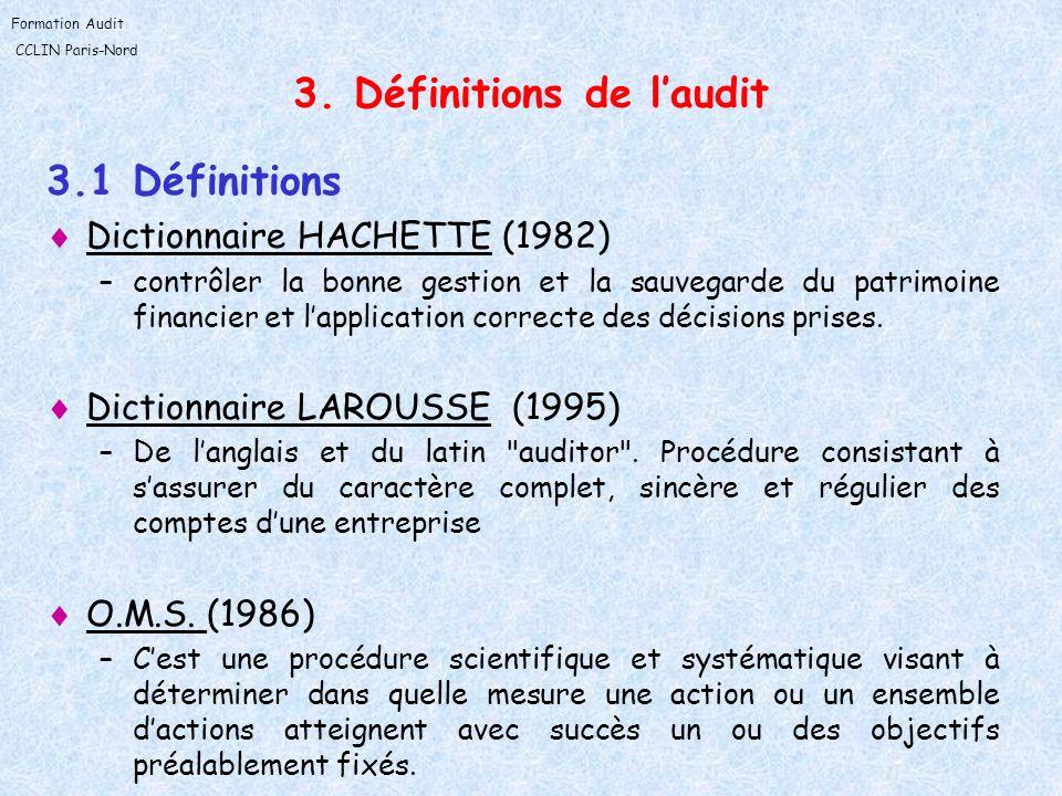 Formation Audit CCLIN Paris-Nord 3. Définitions de laudit 3.1 Définitions Dictionnaire HACHETTE (1982) –contrôler la bonne gestion et la sauvegarde du