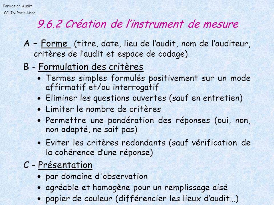 Formation Audit CCLIN Paris-Nord 9.6.2 Création de linstrument de mesure A – Forme (titre, date, lieu de laudit, nom de lauditeur, critères de laudit