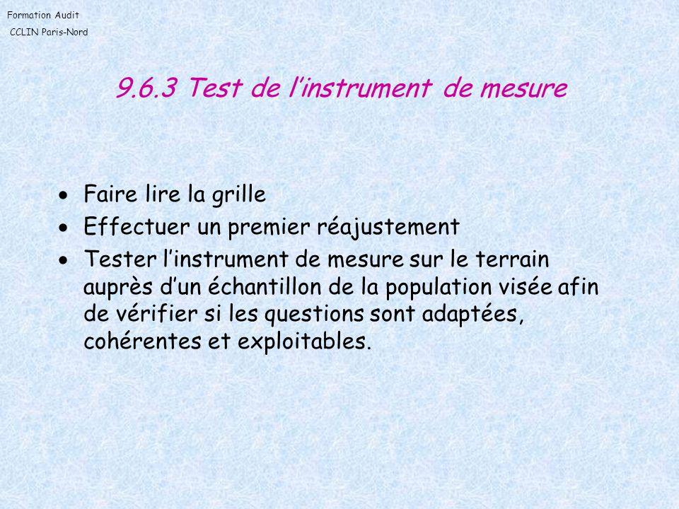 Formation Audit CCLIN Paris-Nord 9.6.3 Test de linstrument de mesure Faire lire la grille Effectuer un premier réajustement Tester linstrument de mesu