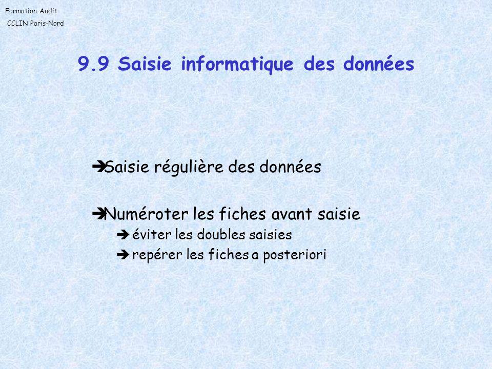 Formation Audit CCLIN Paris-Nord 9.9 Saisie informatique des données Saisie régulière des données Numéroter les fiches avant saisie éviter les doubles