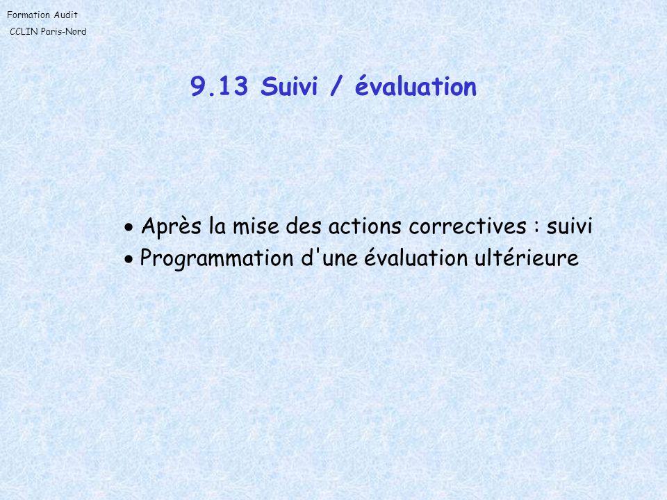 Formation Audit CCLIN Paris-Nord 9.13 Suivi / évaluation Après la mise des actions correctives : suivi Programmation d'une évaluation ultérieure