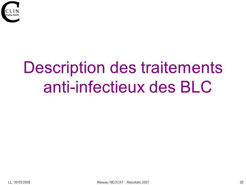 LL, 30/05/2008Réseau NEOCAT : Résultats 200728 Description des traitements anti-infectieux des BLC
