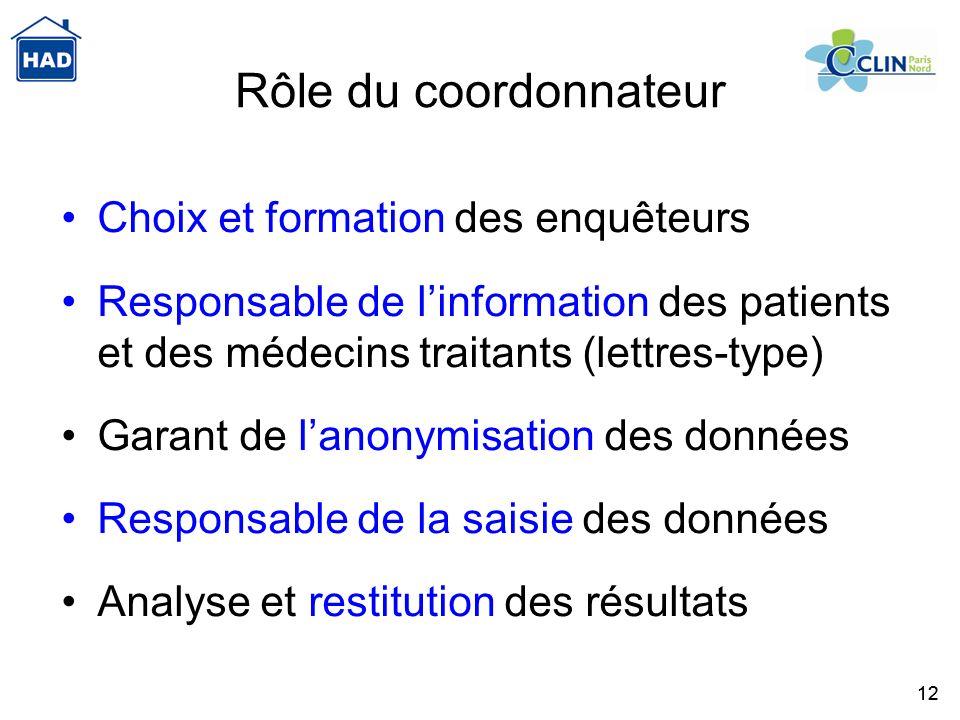 12 Rôle du coordonnateur Choix et formation des enquêteurs Responsable de linformation des patients et des médecins traitants (lettres-type) Garant de