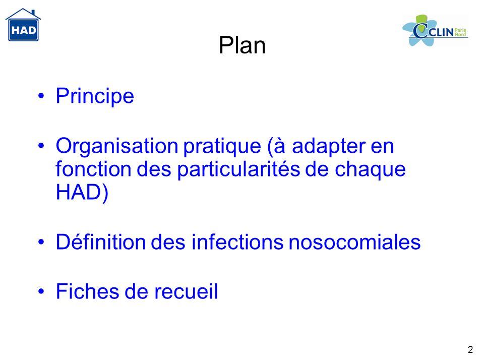 2 Plan Principe Organisation pratique (à adapter en fonction des particularités de chaque HAD) Définition des infections nosocomiales Fiches de recuei
