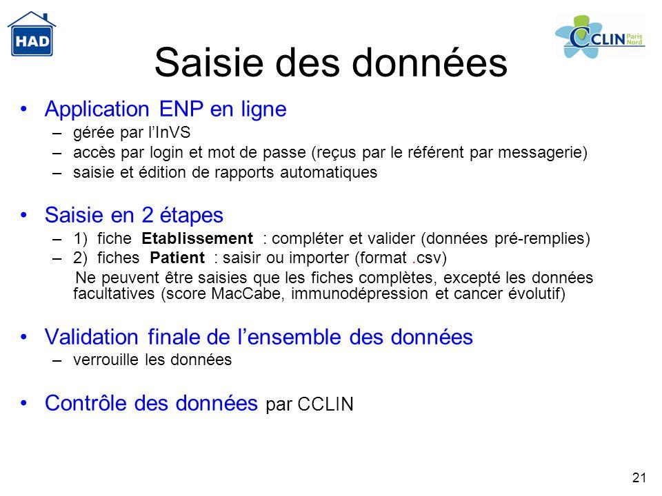 21 Saisie des données Application ENP en ligne –gérée par lInVS –accès par login et mot de passe (reçus par le référent par messagerie) –saisie et édi