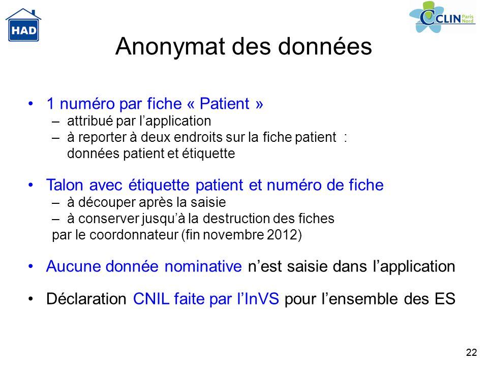 22 Anonymat des données 1 numéro par fiche « Patient » –attribué par lapplication –à reporter à deux endroits sur la fiche patient : données patient e
