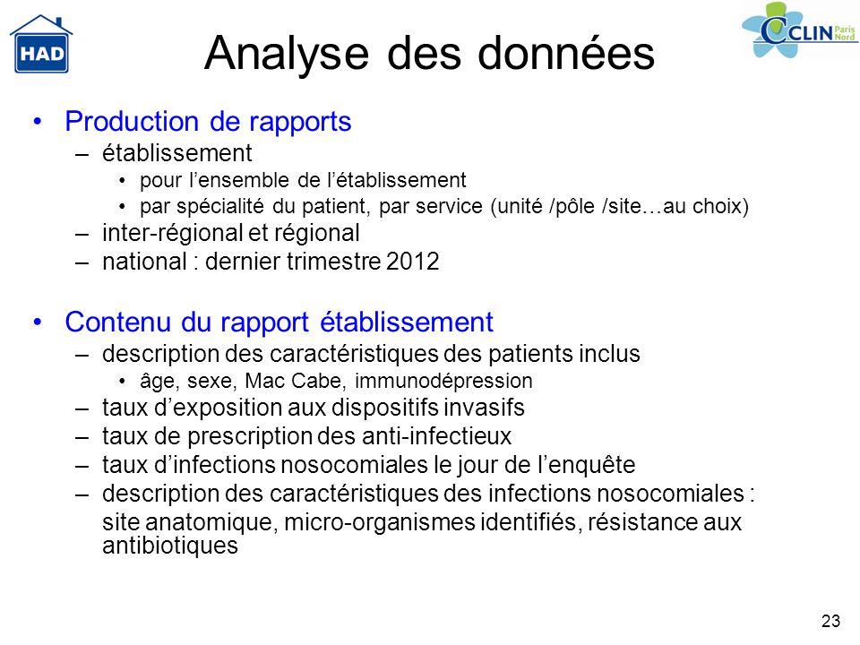 23 Analyse des données Production de rapports –établissement pour lensemble de létablissement par spécialité du patient, par service (unité /pôle /sit