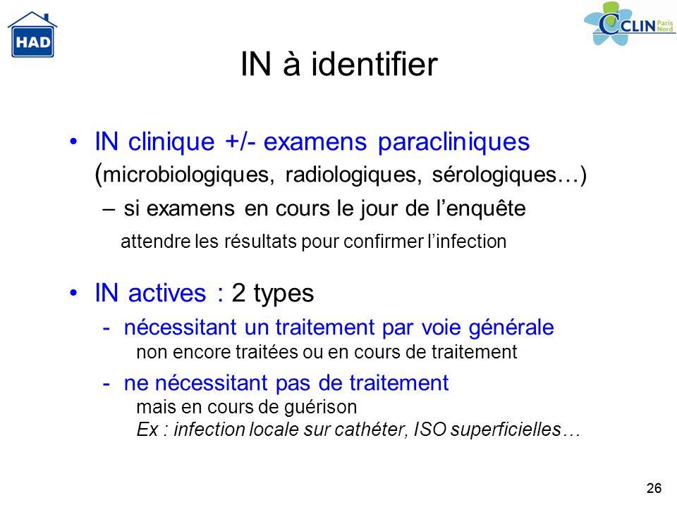 26 IN à identifier IN clinique +/- examens paracliniques ( microbiologiques, radiologiques, sérologiques…) –si examens en cours le jour de lenquête at