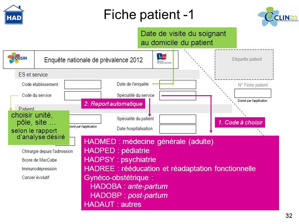 32 HADMED : médecine générale (adulte) HADPED : pédiatrie HADPSY : psychiatrie HADREE : rééducation et réadaptation fonctionnelle Gynéco-obstétrique :