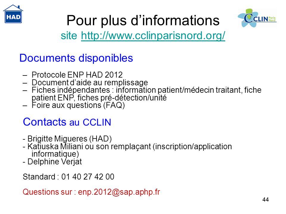 44 Pour plus dinformations site http://www.cclinparisnord.org/http://www.cclinparisnord.org/ Documents disponibles –Protocole ENP HAD 2012 –Document d