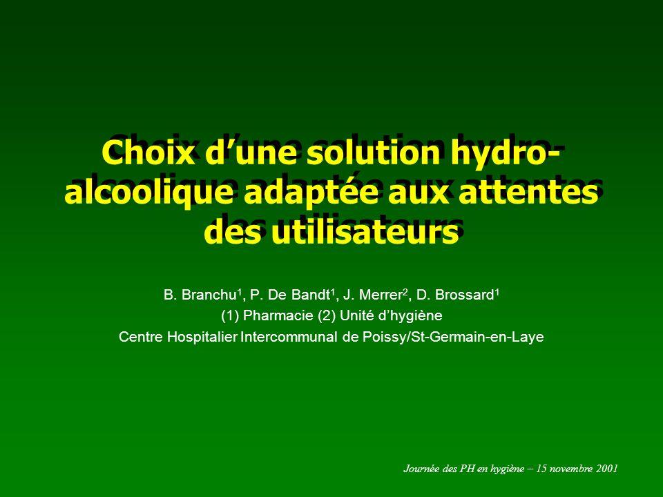 Journée des PH en hygiène – 15 novembre 2001 Choix dune solution hydro-alcoolique adaptée aux attentes des utilisateurs Introduction Les solutions hydro-alcooliques (SHA) augmentent la compliance à lhygiène des mains.