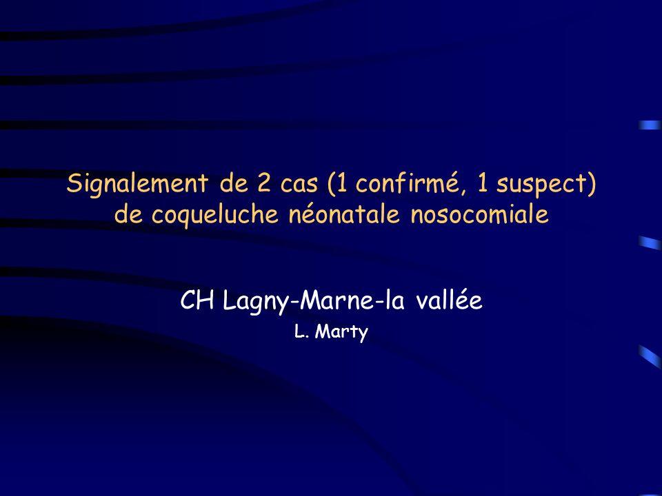 Signalement de 2 cas (1 confirmé, 1 suspect) de coqueluche néonatale nosocomiale CH Lagny-Marne-la vallée L.