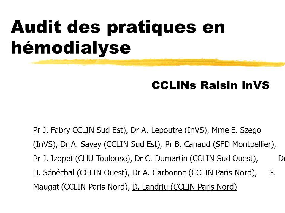 Audit des pratiques en hémodialyse CCLINs Raisin InVS Pr J. Fabry CCLIN Sud Est), Dr A. Lepoutre (InVS), Mme E. Szego (InVS), Dr A. Savey (CCLIN Sud E