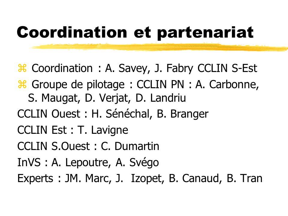 Coordination et partenariat z Coordination : A. Savey, J. Fabry CCLIN S-Est z Groupe de pilotage : CCLIN PN : A. Carbonne, S. Maugat, D. Verjat, D. La