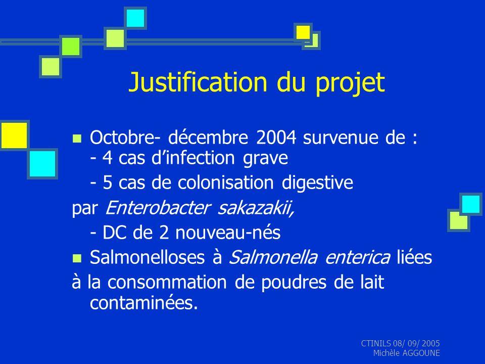 CTINILS 08/ 09/ 2005 Michèle AGGOUNE Justification du projet Octobre- décembre 2004 survenue de : - 4 cas dinfection grave - 5 cas de colonisation dig