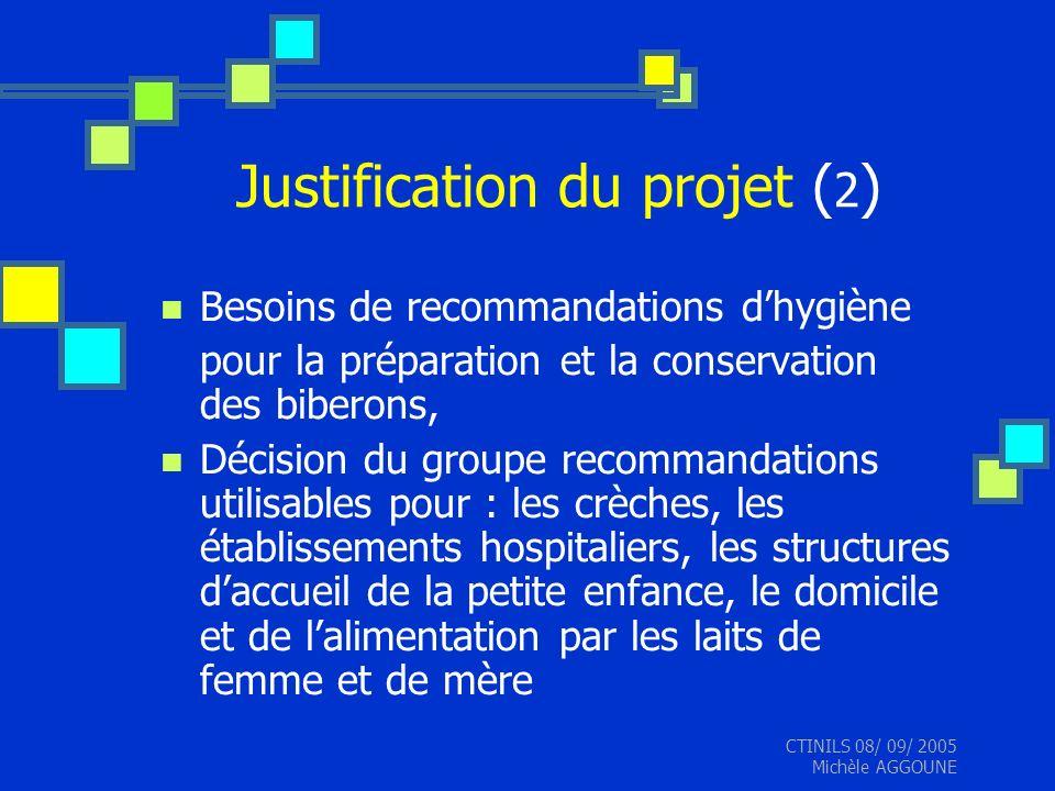 CTINILS 08/ 09/ 2005 Michèle AGGOUNE Justification du projet ( 2 ) Besoins de recommandations dhygiène pour la préparation et la conservation des bibe
