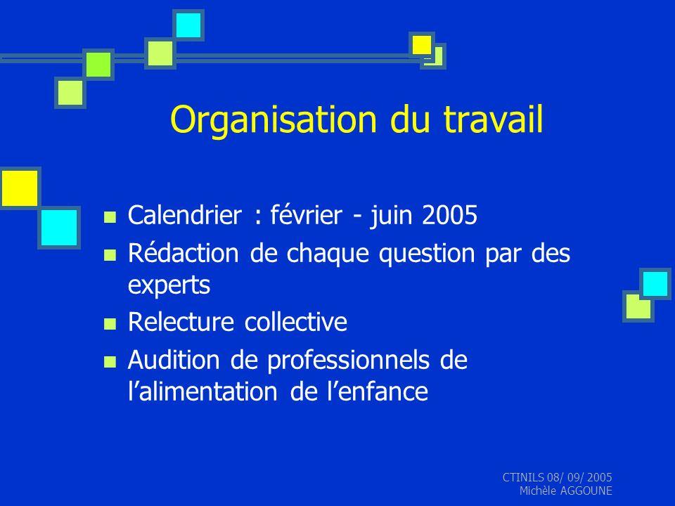 CTINILS 08/ 09/ 2005 Michèle AGGOUNE Organisation du travail Calendrier : février - juin 2005 Rédaction de chaque question par des experts Relecture c