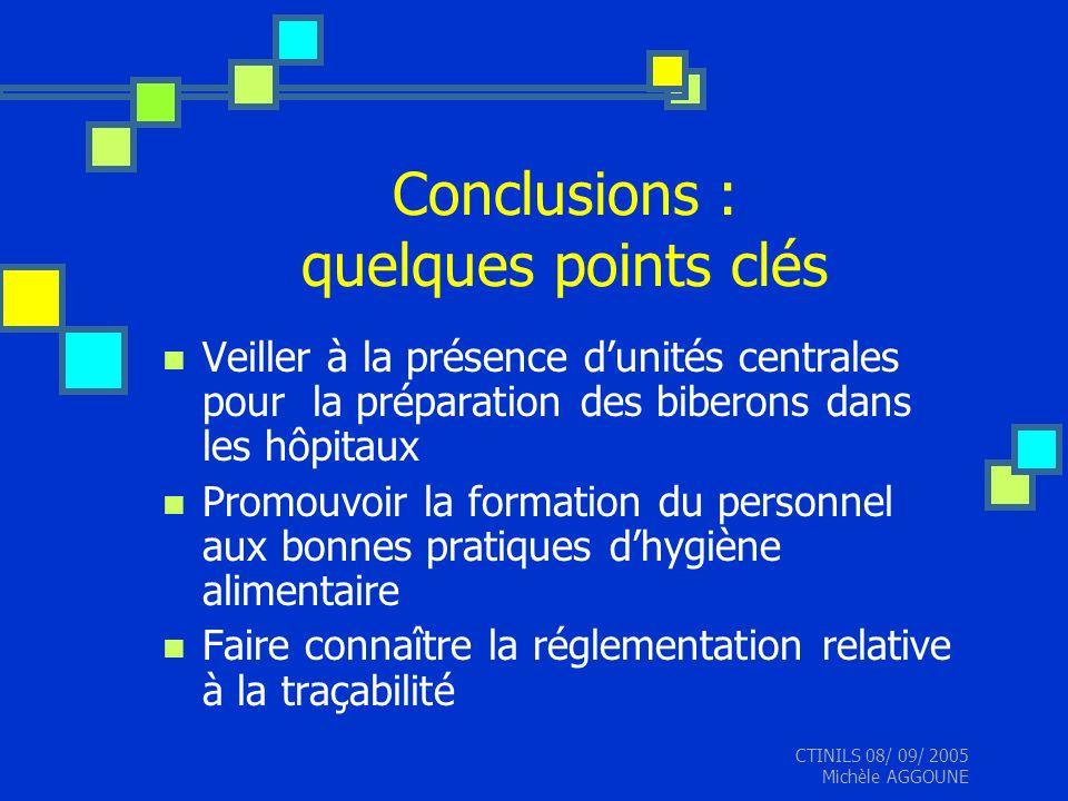 CTINILS 08/ 09/ 2005 Michèle AGGOUNE Conclusions : quelques points clés Veiller à la présence dunités centrales pour la préparation des biberons dans