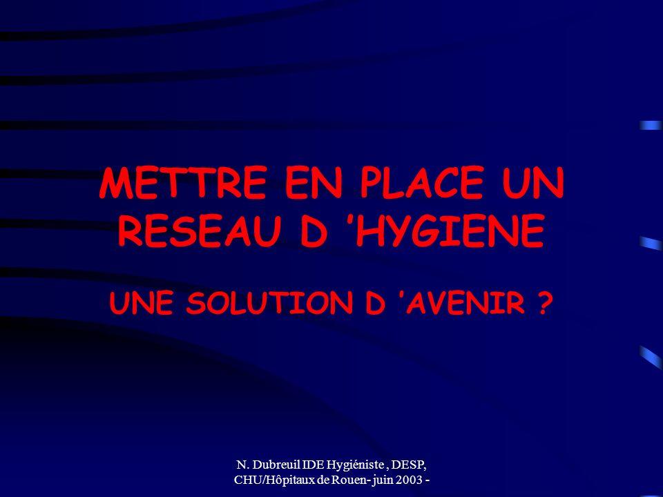 N. Dubreuil IDE Hygiéniste, DESP, CHU/Hôpitaux de Rouen- juin 2003 - METTRE EN PLACE UN RESEAU D HYGIENE UNE SOLUTION D AVENIR ?